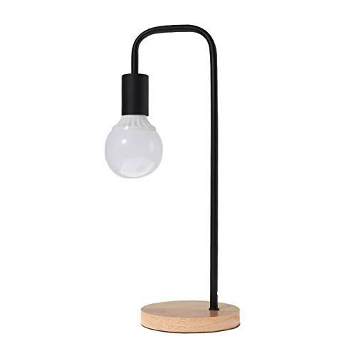 HENY LED Lámpara De Flexo Escritorio,Hierro Parajado&Madera De Goma Cuidado De Ojos Lámpara De Mesa,Botón del Interruptor De Encendido Lámpara De Flexo Escritorio para Oficina Casa(-Negro