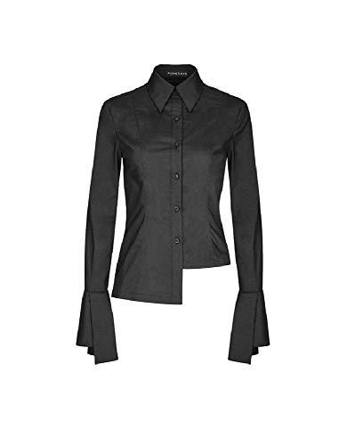Zwarte dames blouse met lange mouwen asymmetrisch punk Rave OPY-244CCF getailleerd bovendeel shirt manchetten