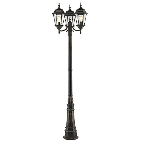 Emliviar Outdoor Lamp Post Light, Vintage 3-Head Street Light, Cast Aluminum in Black Finish with Clear Glass, WE1983PL-3 BG