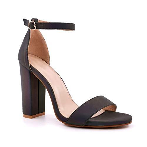 Angkorly - Chaussure Mode Escarpin Sandale Chic élégant Tendance Femme lanière Boucle Effet réfléchissant Talon Haut Bloc 11 CM - Noir 7 - FR387 T 37