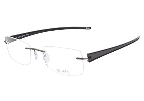 Silhouette Rays 5305 6060 Gray Black Rimless Eyeglasses 52mm