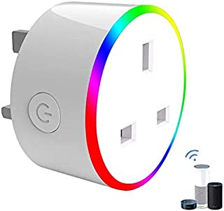 WiFi Smart Plug, Mini Wireless Smart Socket Compatible with Alexa (Echo and Echo Dot) Google Home and IFTTT, RGB LED Light Remote Control Timer Plug Switch