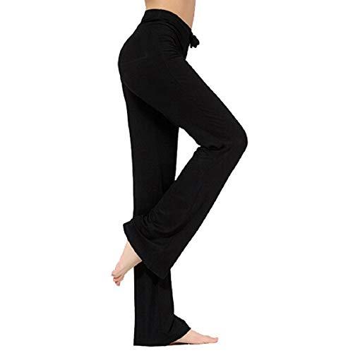 NB Pantalones de Yoga para Mujer, Pantalones Casuales de Yoga con cordón para Yoga y Correr (Negro, Medium)