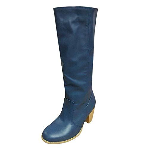 WUSIKY Geschenk für Frauen Stiefeletten Damen Bootsschuhe Boots Fashion Weisecowboy Reitstiefel Retro beiläufige große Knie Schlauch lädt Schuhe auf (Blau, 39.5 EU)