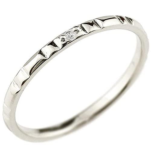 [アトラス]Atrus 指輪 メンズ ダイヤモンド 18金 ホワイトゴールドk18 ピンキーリング 一粒 極細 華奢 ストレート 7号