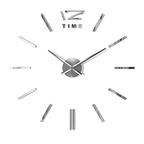 Reloj 3D adhesivo para pared, XXL, material acrílico, color plateado