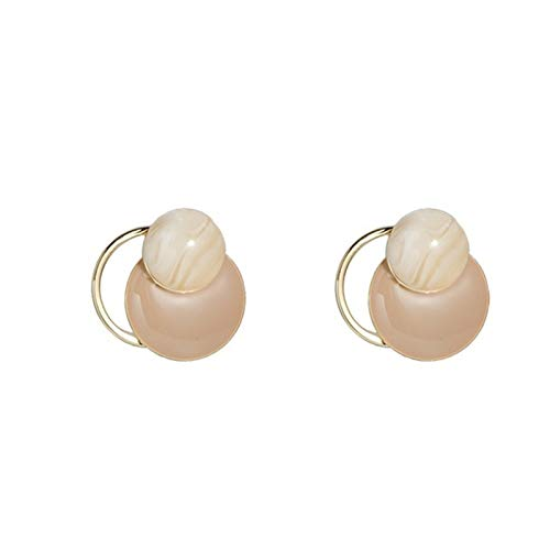Earring Acrylic circle earrings, retro Hong Kong style silver needle stud earrings, exquisite female jewelry (one pair) (Color : A)