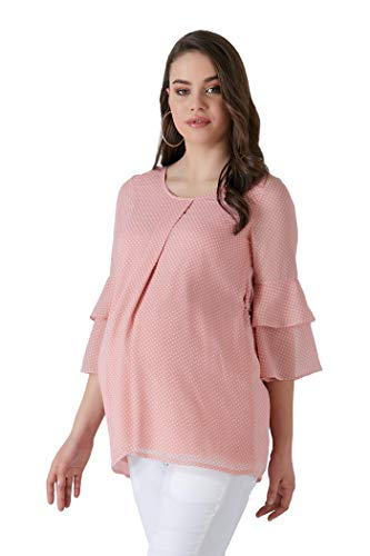 M.M.C. Rosy Chiffon Umstands-Bluse mit weißen Punkten und Volant Ärmel – Schwangerschaftsmode Umstandsmode Freizeitbluse für die Schwangerschaft (Rosa, 38)