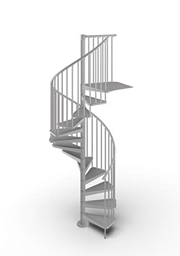 Mister Step Gamia Metal escalera de caracol para interiores de acero pintado - Diámetro 120 cm. 12 peldaños (gris RAL 9006)
