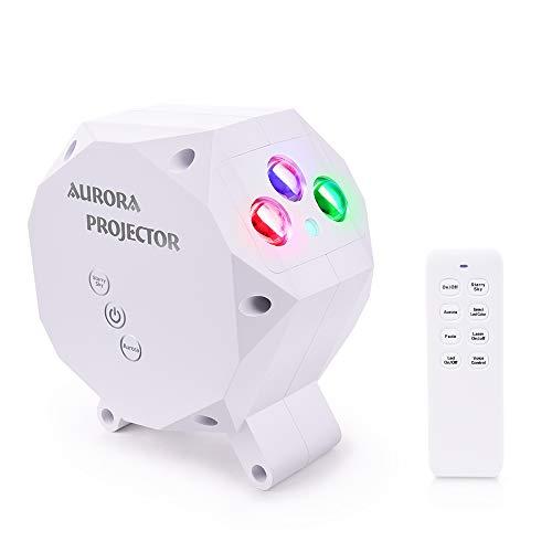 LONGKO LED Aurora Lámpara Proyector de Cielo Estrellas, Dynamic Proyector Nocturna Luz Música Bluetooth Lámpara con Control Remoto para Techo del Dormitorio Sala de Juegos Home Theater Decoraciones