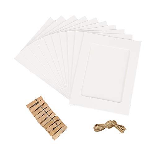 Jahosin - Marco de fotos de papel de 12,7 x 17,8 cm, diseño creativo de cartón con cuerda de lino y clips, color blanco (5 x 7, 10 unidades)