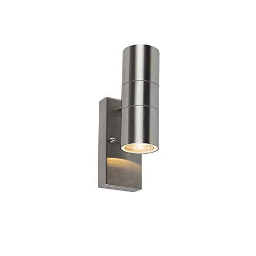 QAZQA Modern Buitenwandlamp staal IP44 met licht-donker sensor - Duo Roestvrij staal (RVS) Rond Geschikt voor LED Max. 2 x 35 Watt