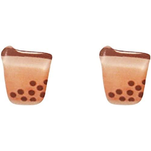 Pearl Milk Tea 925 uñas de Hongos Blancos Clips de Oreja de Bebida Hechos a Mano creativos sin Orejas Perforadas-B