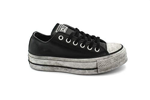 CONVERSE 562910C edición Limitada CTAS Lift Black Black Sneakers Cuero Cordones Plataforma 40