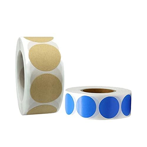 500 unidades de puntos adhesivos de colores, etiquetas redondas, 2 unidades de 2,5 cm de diámetro, redondos, pegatinas de pizarra autoadhesivas para regalo de botellas,estanterías (azul*café)