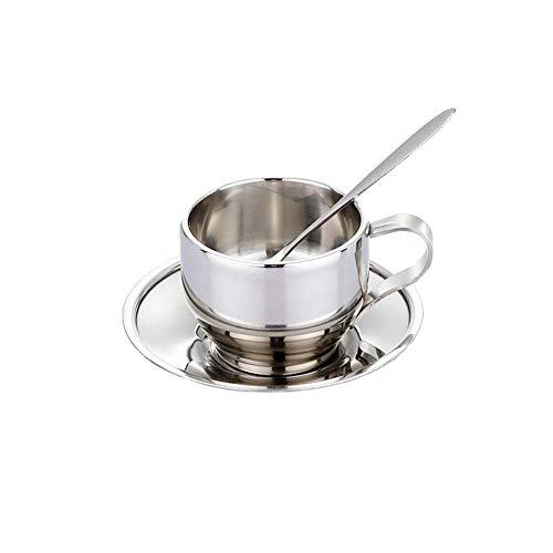 YUEXING 2 Edelstahl-Kaffeetassen-Set, Premium-Teetasse mit Löffel und Untertasse, verdicktem Henkel und Tassenboden, für Kaffee-Milch-Tee - 125 ml