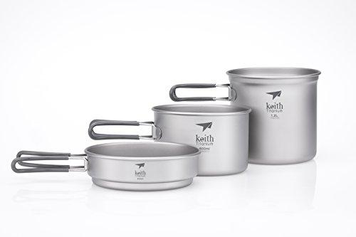 Keith Titanium Ti6014 3-Piece Pot and Pan Cook Set - 2400ml (Limited Time Price)