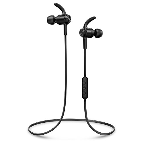Wireless Headphones 10 Hours Playtime, Picun HiFi Stereo CSR Bluetooth Headphones IPX7 Waterproof Sports Earbuds with HD Mic, Magnetic, Anti-Fall Off, Painless Fit for Running Gym Workout Gift -Black