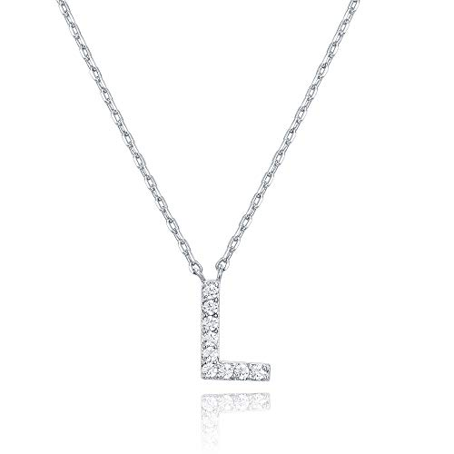 PAVOI 14K White Gold Plated Cubic Zirconia Initial Necklace | Letter Necklaces for Women | L Initial