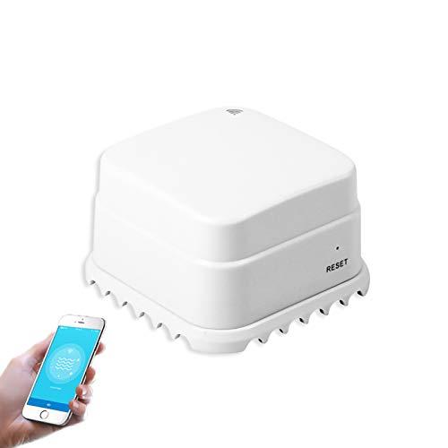 Kajiali Sensore Intelligente di perdite dacqua, rilevatore di perdite dacqua WiFi, Allarme sensore dacqua, Allarme di Sicurezza per allagamento Troppo Pieno Funziona con Lapp Tuya/Smart Life
