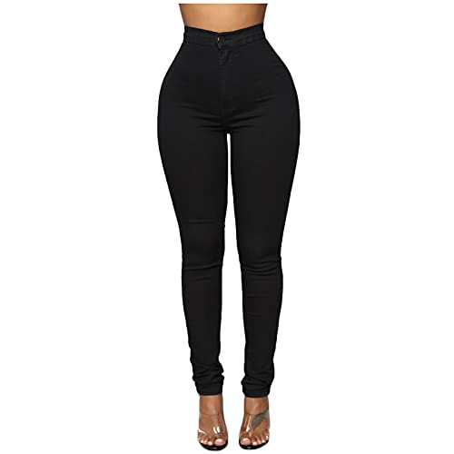 YANFANG Leggings Ajustados De Pantalones Casuales para Mujer,Pantalones Mujer Moda Estirar Cintura Alta Levantamiento GlúTeos Pitillo,Leggins Elegantes Push Up Slim Fit Fitness Deportivo,Negro,XXL