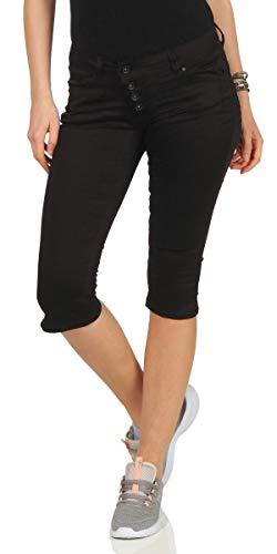 Buena Vista Damen Jeans Malibu Capri Stretch Kurze Hose Knielang Knopfleiste Schwarz L