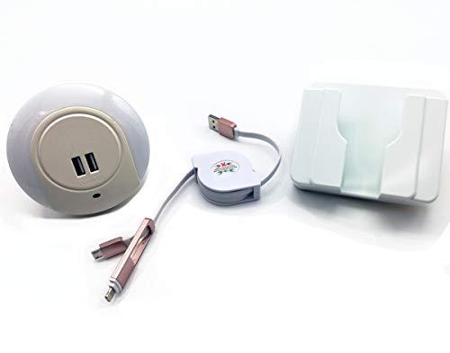 Luz Nocturna con Cargador Doble USB + Soporte Pared para Móvil + Cable USB para Android e iPhone (2A)