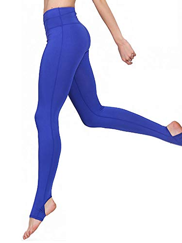 Ancia Womens Tartan Active Workout Capri Leggings Fitted Stretch Tights Large Blue