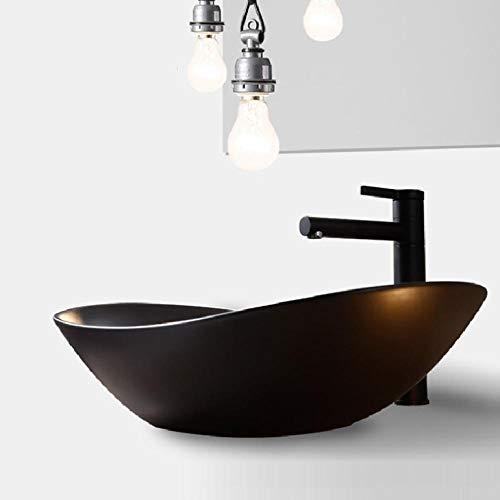 Hiwenr kunst wastafel zwart ovaal keramische pot over teller wastafel kom handgemaakt toilet wastafel