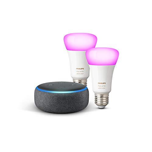 Echo Dot (3.ª generación), tela de color antracita + Philips Hue White & Color Ambiance Pack de 2 bombillas LED inteligentes, compatible con Bluetooth y Zigbee, no se requiere controlador