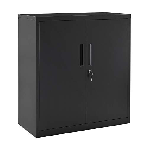 SONGMICS Steel Storage Cabinet, Office Cabinet with Storage Shelves and Double Doors, for Garage and Utility Room, Home Office, Black UOMC013B01