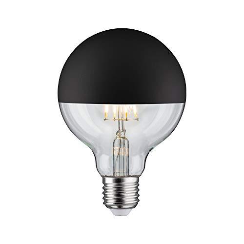 Paulmann 28676 lámpara LED filamento G95 6vatios bombilla cúpula espejo negro mate 2700 K blanco cálido regulable E27