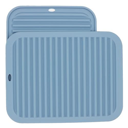 Smithcraft Salvamanteles de silicona resistente al calor, juego de 2 almohadillas calientes para soporte de ollas, protector superior y cuchara seguro para alimentos, rectangular, gris y azul