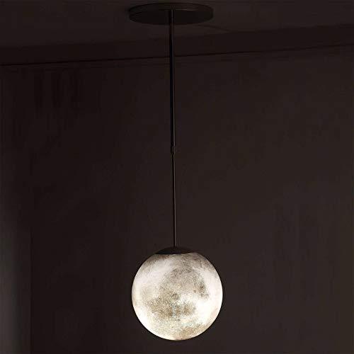 Luna LED Lámpara Colgante, 3D Plafon Led Techo Lámpara Colgante Para Dormitorio Infantil Habitación Salon Cielo Estrellado Decoracion Luz De Techo Restaurante Isla De Cocina-luz blanca-25cm(10in)