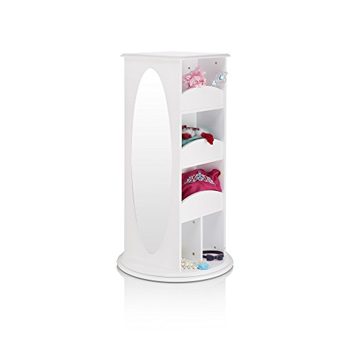 Guidecraft Rotating Dress-Up Storage - White: Kids' Armoire with 2 Mirrors, Cubbies & Hooks for Costumes, Clothes, Shoes and Accessories - Toddlers Pretend Play Station