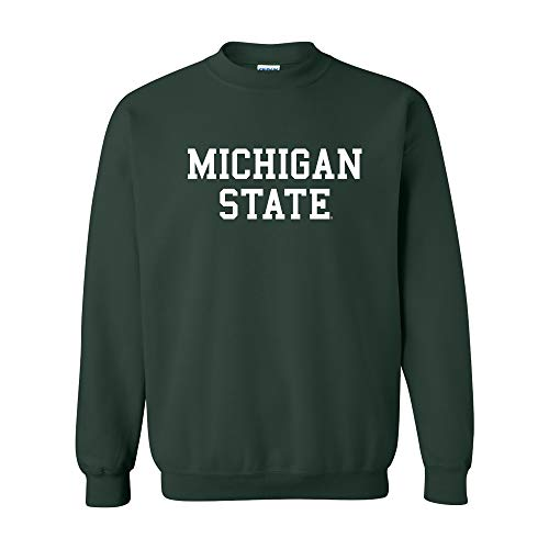 AW01 - Michigan State Spartans Basic Block Crew Sweatshirt - Small - Forest