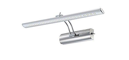 LED Bilderleuchte mit Schalter Chrom poliert schwenkbar Wandleuchte beweglich (Spiegelleuchte, Spiegel Lampe, Bildbeleuchtung, Wandlampe, Wandstrahler, inkl. Leuchtmittel, 43 cm, warmweiß, EEK A+)