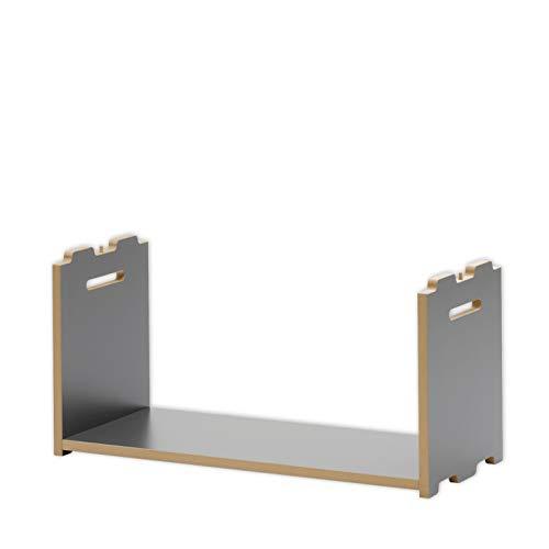 Tojo Hochstapler | Erweiterungsmodul für modulares Regalsystem | Anthrazit | Anbaumodul für EIN individuelles Wandregal/Bücherregal/CD Regal | MDF Regal