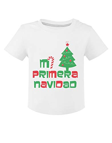 Camiseta para niños- Ropa Navidad Bebe - Mi Primera Navidad - 24M Blanco