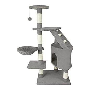 Leogreen - Arbre à Chat, Poteau à Griffer pour Chat, 120 cm, 5 perchoirs, Gris, Matériau: MDF, Accessoires: Corde + Souris