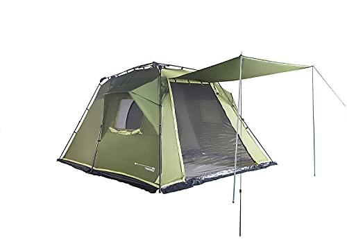 Lumaland Where Tomorrow 4-5 Personen Zelt mit Sonnendach - 300x395x200 cm - Pop Up Wurfzelt - Familienzelt - ideal für Camping Festival etc. - wasserdicht, robust, Quick-Up-System - Grün