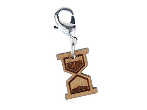 Miniblings Sanduhr Charm Zipper Pull Stundenglas Zeit Uhr Eieruhr Holz - Handmade Modeschmuck I Kettenanhänger versilbert - Bettelanhänger Bettelarmband - Anhänger für Armband