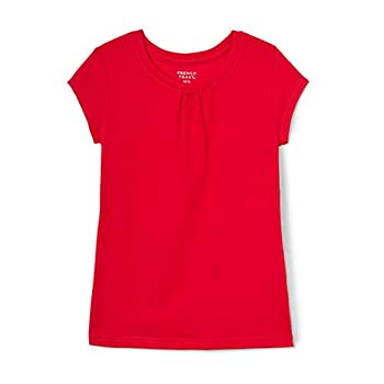French Toast Big Girls Short Sleeve Crew Neck Tee Red 7/8