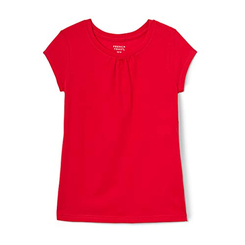 French Toast Girls' Short Sleeve Crew Neck T-Shirt, Red, 14/16