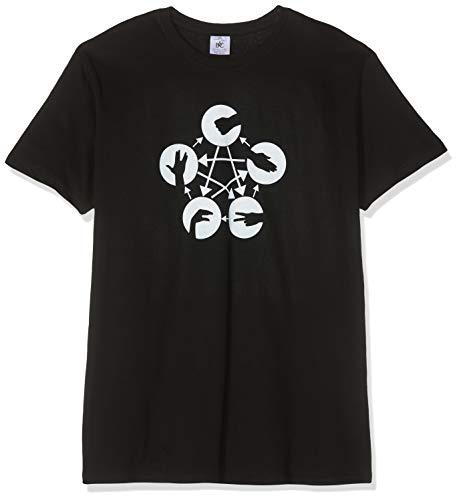 Texlab TBBT: Schere Stein Papier Echse Spock - Herren T-Shirt, Größe L, schwarz