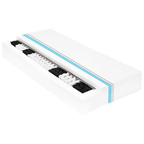 vidaXL madrass säng undersäng madrassöverdrag madrassöverdrag madrass 90 x 200 cm 7 zoner fickfjädrar PU skum 20 cm H3 komfort överdrag tvättbar