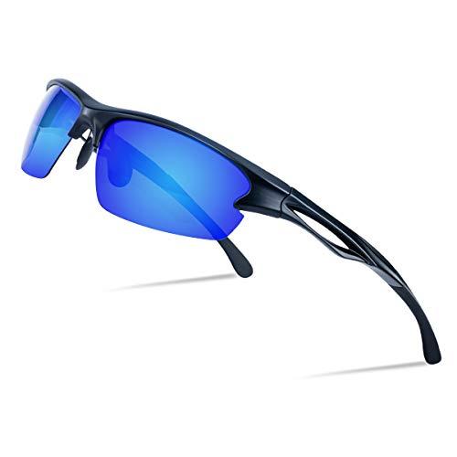 Goiteia Polarisierte Sport-Sonnenbrillen für Herren und Damen- Fahrradbrille mit UV400 Schutz Superleichtes TR 90 Rahmen zum Radfahren Skifahren Autofahren Angeln Laufen Wandern (Blau)