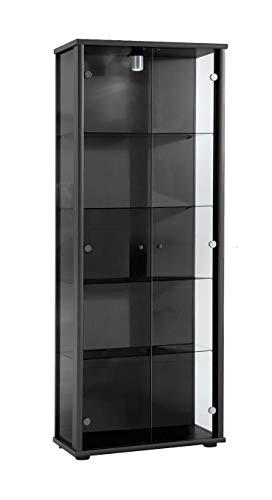 K-Möbel Glasvitrine in Schwarz(176x67x33 cm) mit 4 höhenverstellbaren Glasböden aus ESG; beleuchtet; perfekt für Sammler;
