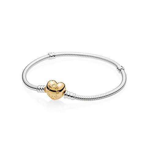 PANDORA Moments 925 Sterling Silver Bracelet with 18k Gold Plated PANDORA Shine Heart Clasp Necklace - 560719