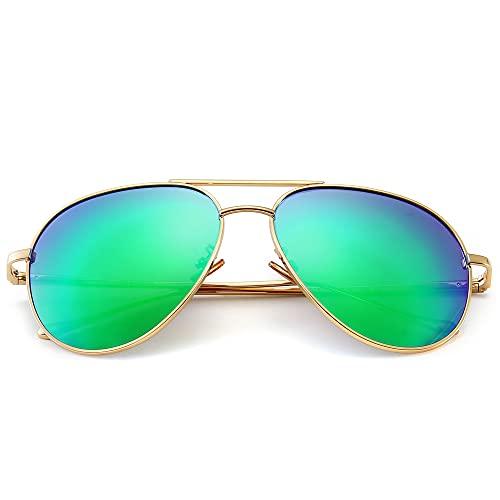 SUNGAIT Gran Tamaño Gafas de Sol Ligeras para Mujer con Lente Polarizada Espejada(Ligero-Oro/Verde)-SGT603